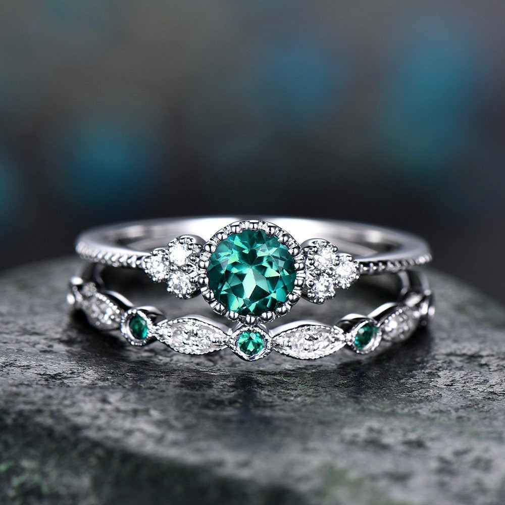 Round Cut Emerald Bridal Sets