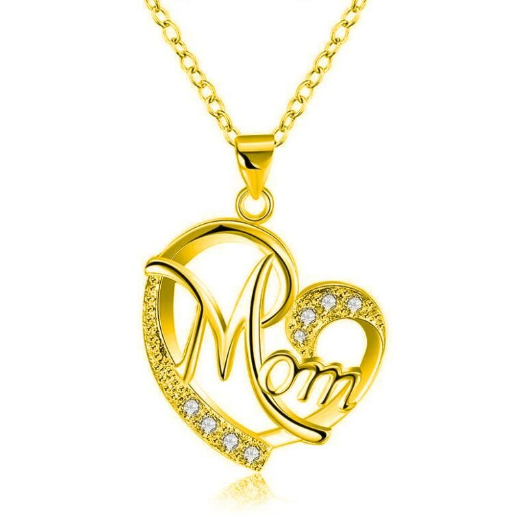 """Round Cut White Sapphire Gold Heart """"Mom"""" Necklace"""