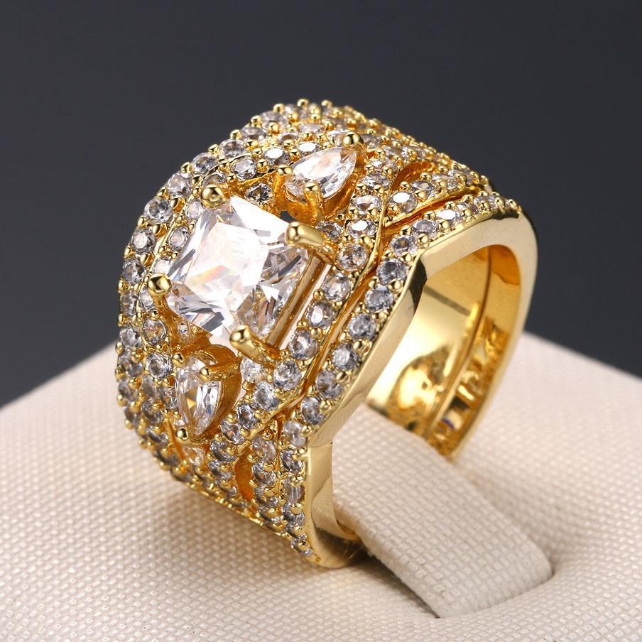 Princess Cut White Sapphire Gold Three-Stone 3-Piece Bridal Sets