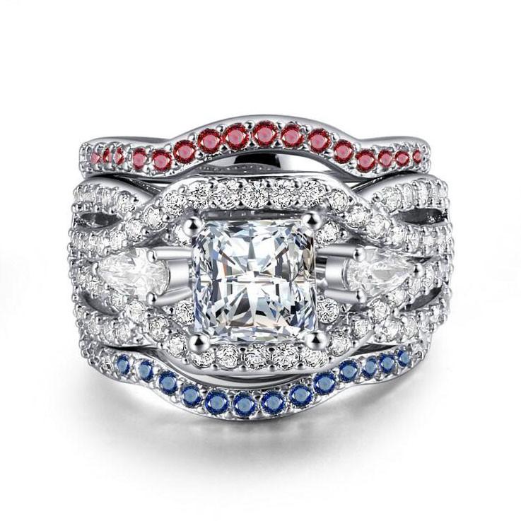 Princess Cut White Sapphire 3-Piece Three-Stone Bridal Sets