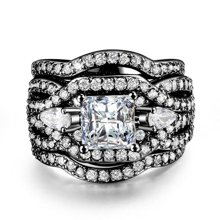 Princess Cut White Sapphire Black Three-Stone 3-Piece Bridal Sets