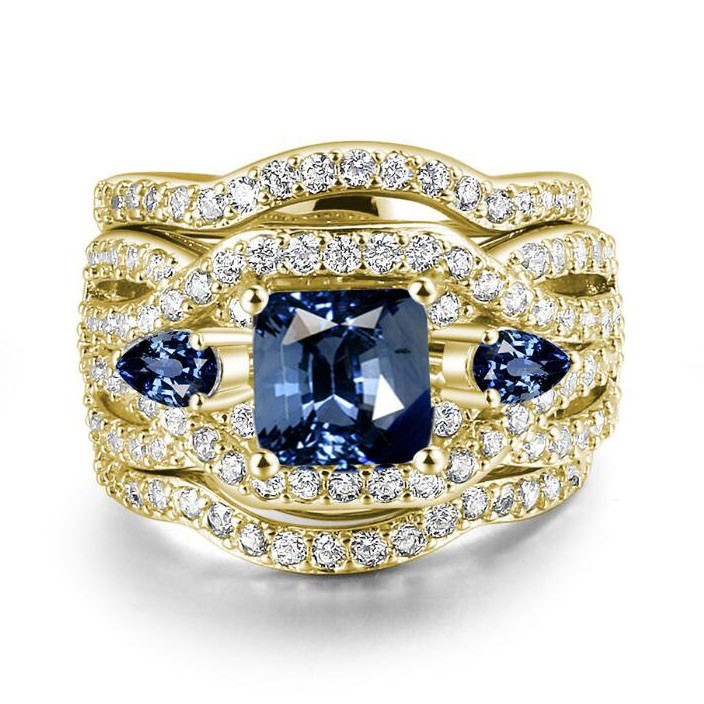 Princess Cut Blue Sapphire Gold 3-Piece Three-Stone Bridal Sets