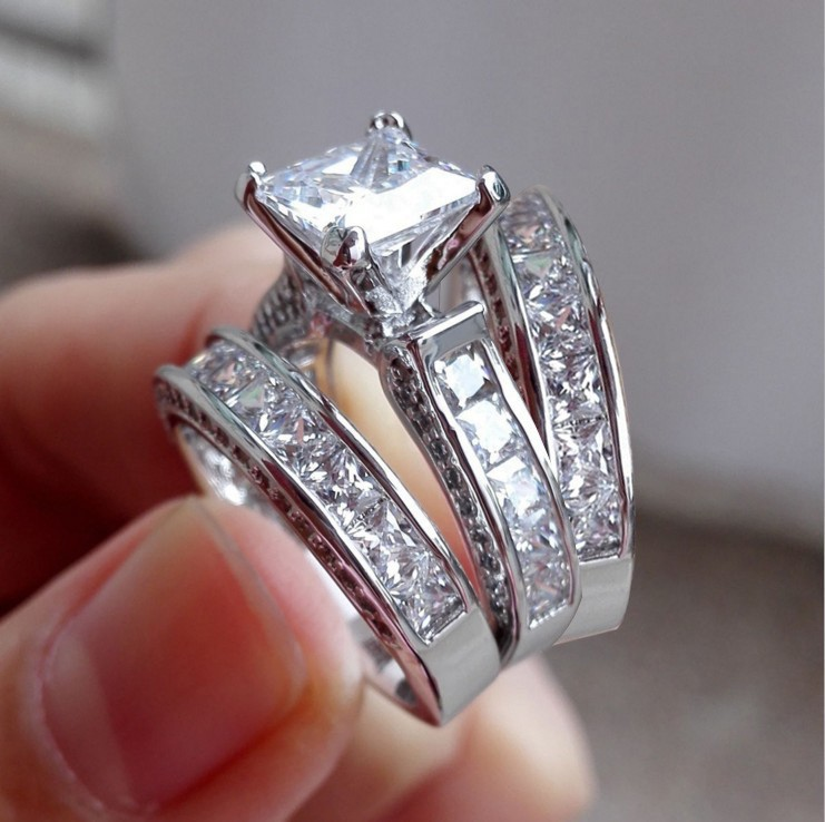Princess Cut White Sapphire 3-Piece Bridal Sets