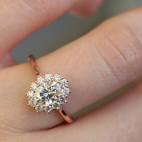 Rose Gold Oval Cut White Sapphire Engagement Ring