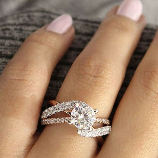 Rose Gold Round Cut White Sapphire Twisted Engagement Ring
