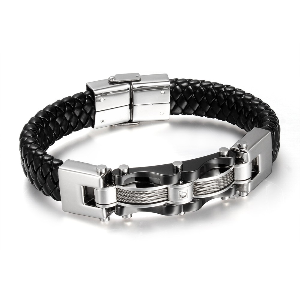 Black Leather 925 Sterling Silver Bracelet