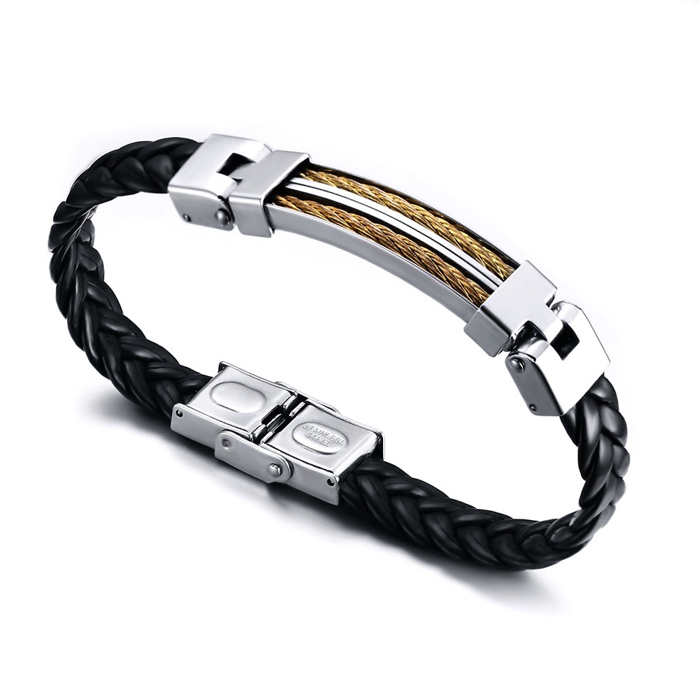 Black Leather 925 Sterling Silver Gold Chain Bracelet