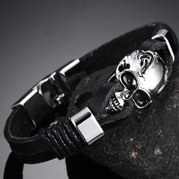 Black Leather Skull 925 Sterling Silver Bracelet