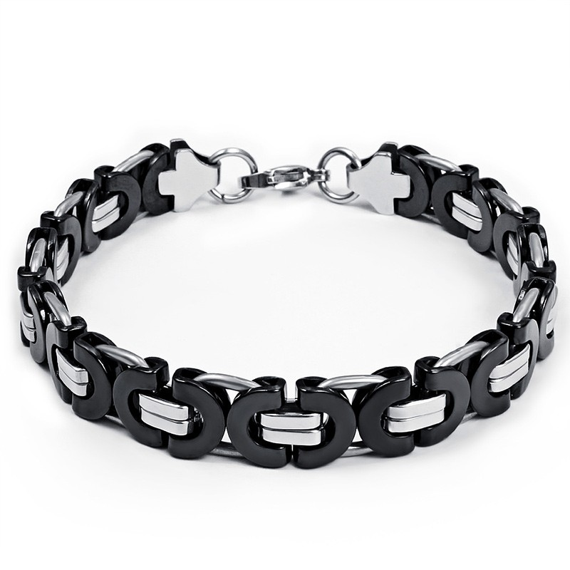 Black and Silver Chain Design 925 Sterling Silver Bracelet