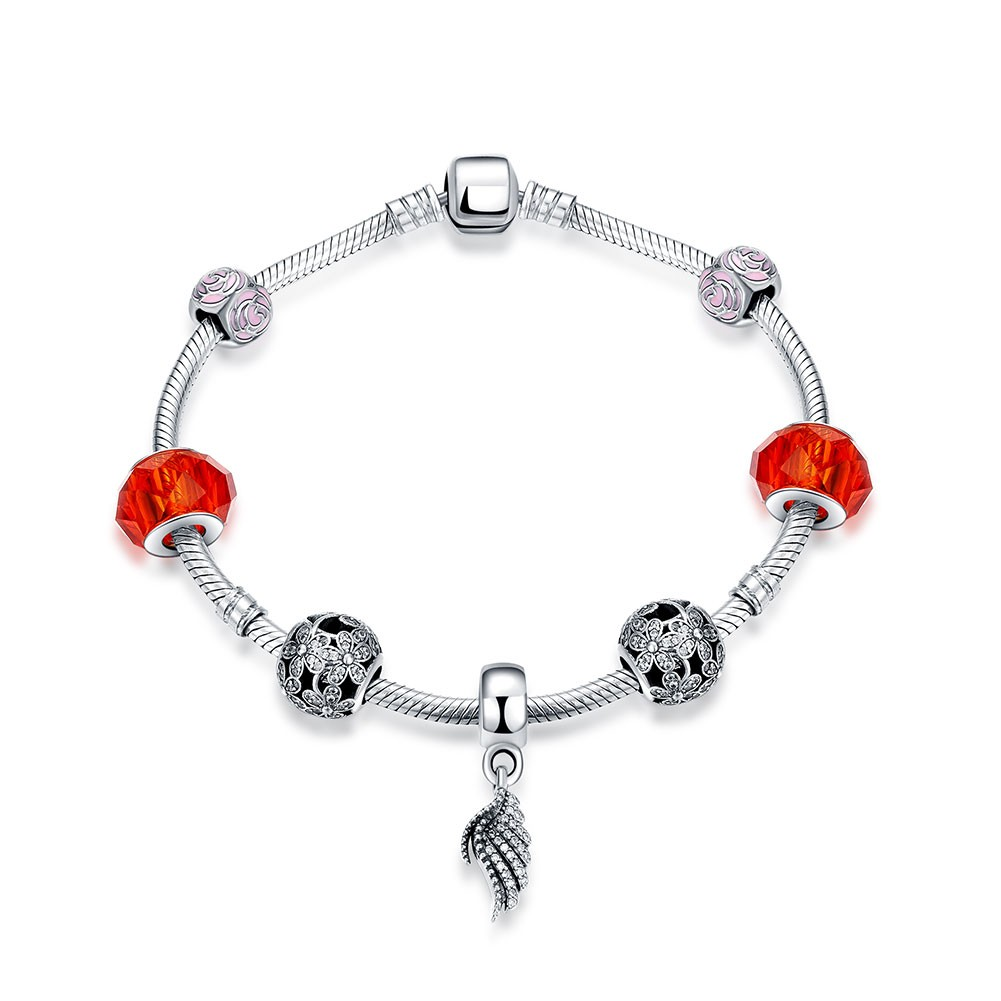 Red and Pink Wing Accessories S925 Silver Bracelets