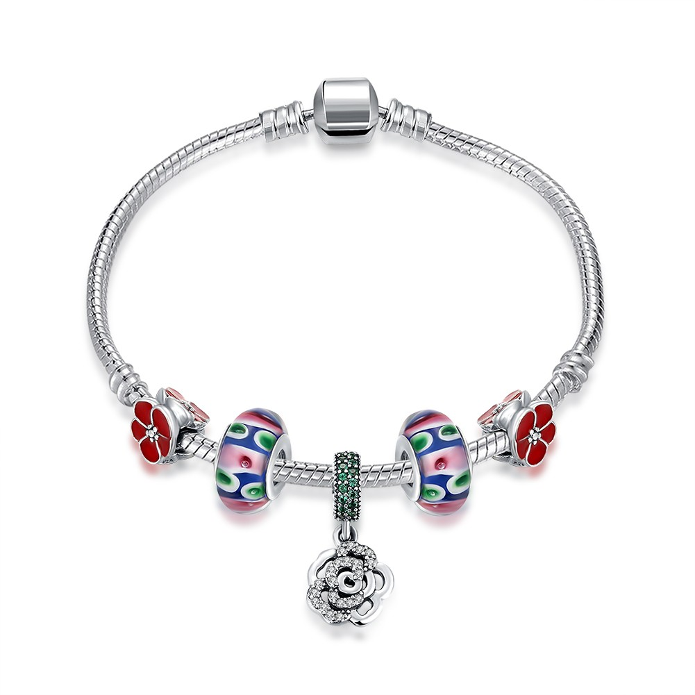 Red Accessories Flower Pendant S925 Silver Bracelets