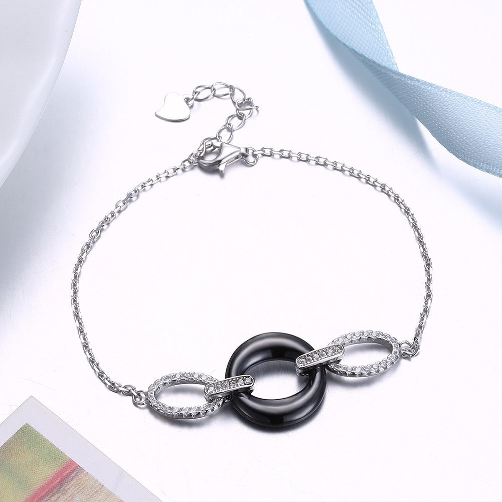 Unique Black Ceramic Circle Pendant S925 Silver Bracelets