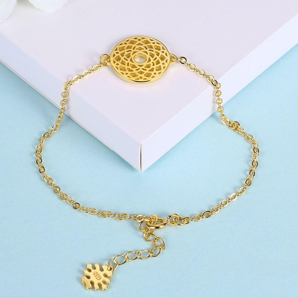 Rose Gold/Silver/Gold Round Pendant S925 Silver Bracelets