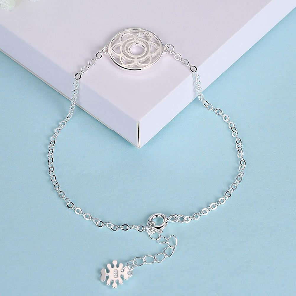 Rose Gold/Silver/Gold Flower Round Pendant S925 Silver Bracelets