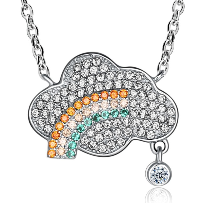 Round Cut White Sapphire S925 Silver Cloud Rainbow Necklaces