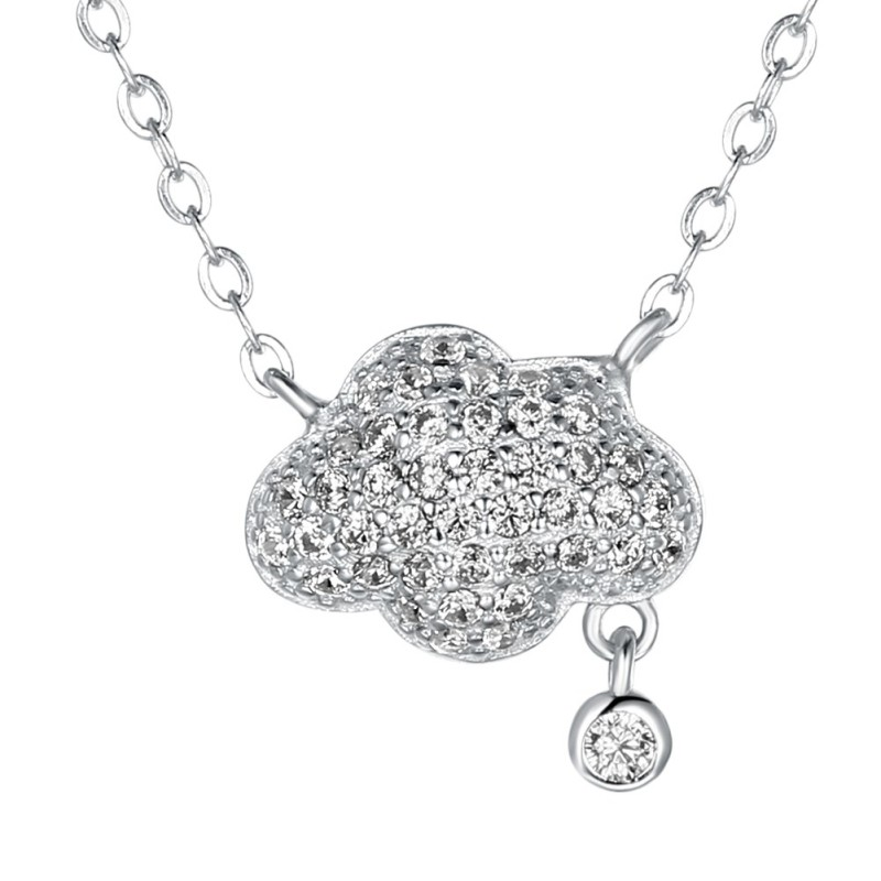 Round Cut White Sapphire S925 Silver Cloud Necklaces