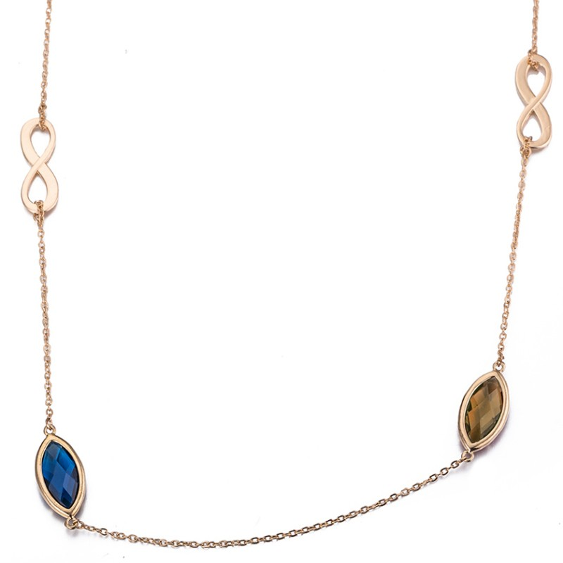 Marquise Cut Rose Gold Blue Sapphire S925 Silver Infinity Necklaces