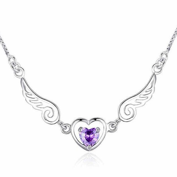 ANGEL & LOVER Heart Cut Amethyst Wings Necklaces