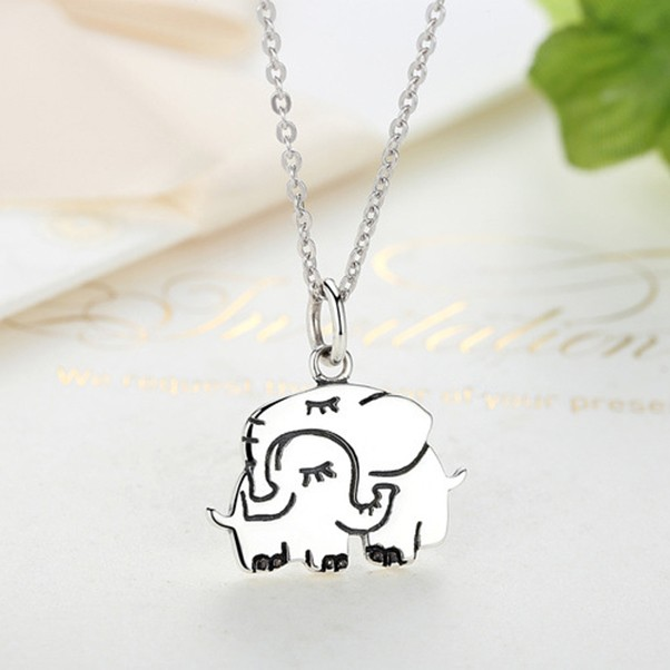 Maternal Love Elephant 925 Sterling Silver Necklace