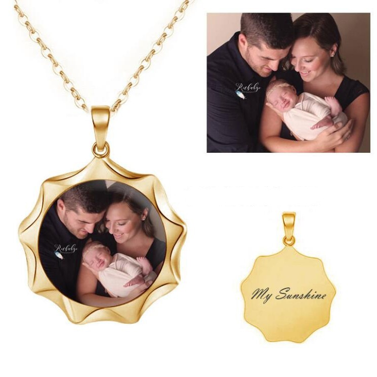 925 Sterling Silver Gold Personalized Photo Necklace