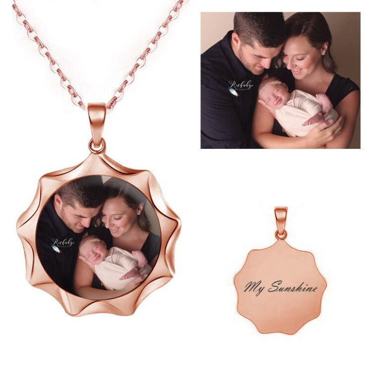 925 Sterling Silver Rose Gold Personalized Photo Necklace