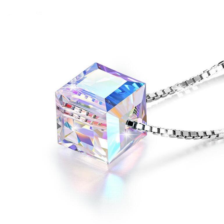 Swarovski Cube Crystal 925 Sterling Silver Necklace