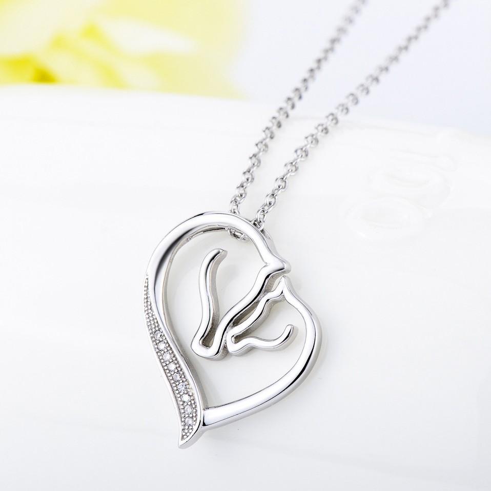 Maternal Love 925 Sterling Silver Zircon Necklace