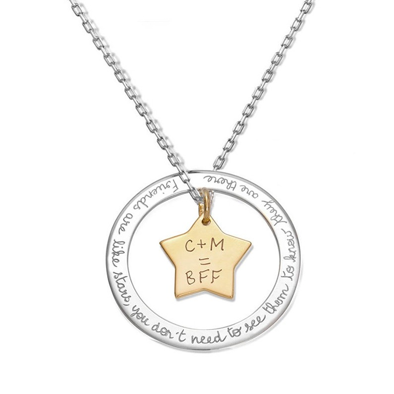 925 Sterling Silver Gold Two Name Necklace