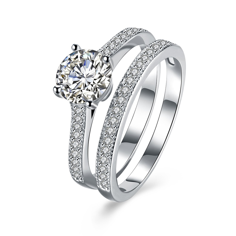 Round Cut White Sapphire S925 Silver Ring Sets