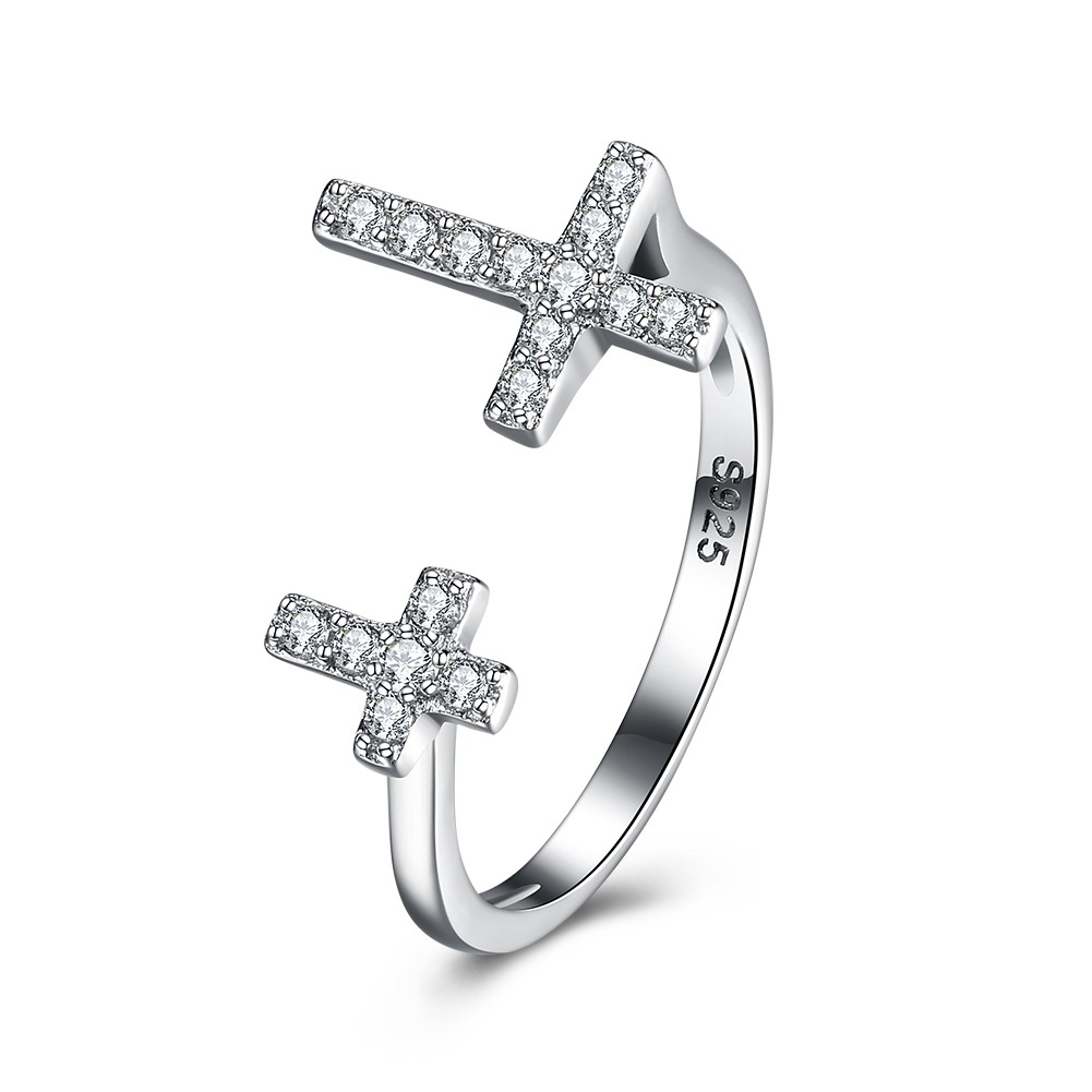 Cross Round Cut White Sapphire S925 Silver Rings