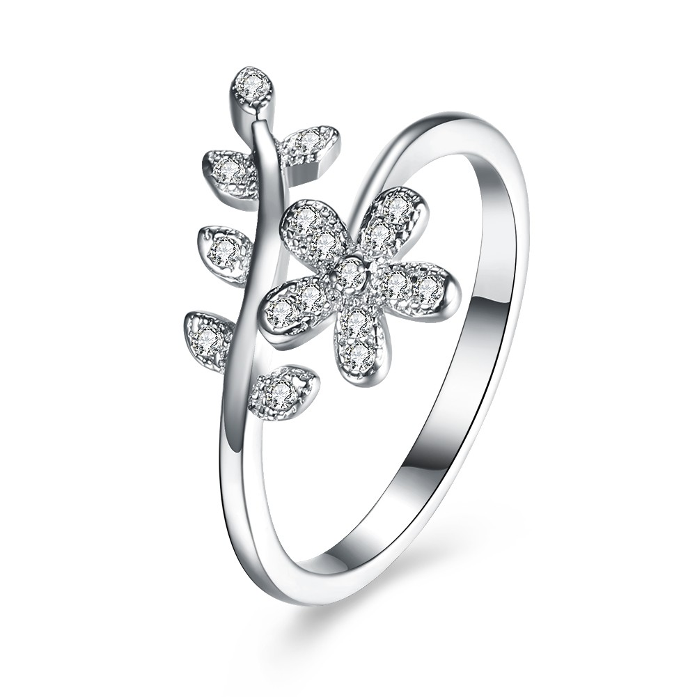 Flower Round Cut White Sapphire S925 Silver Promise Rings