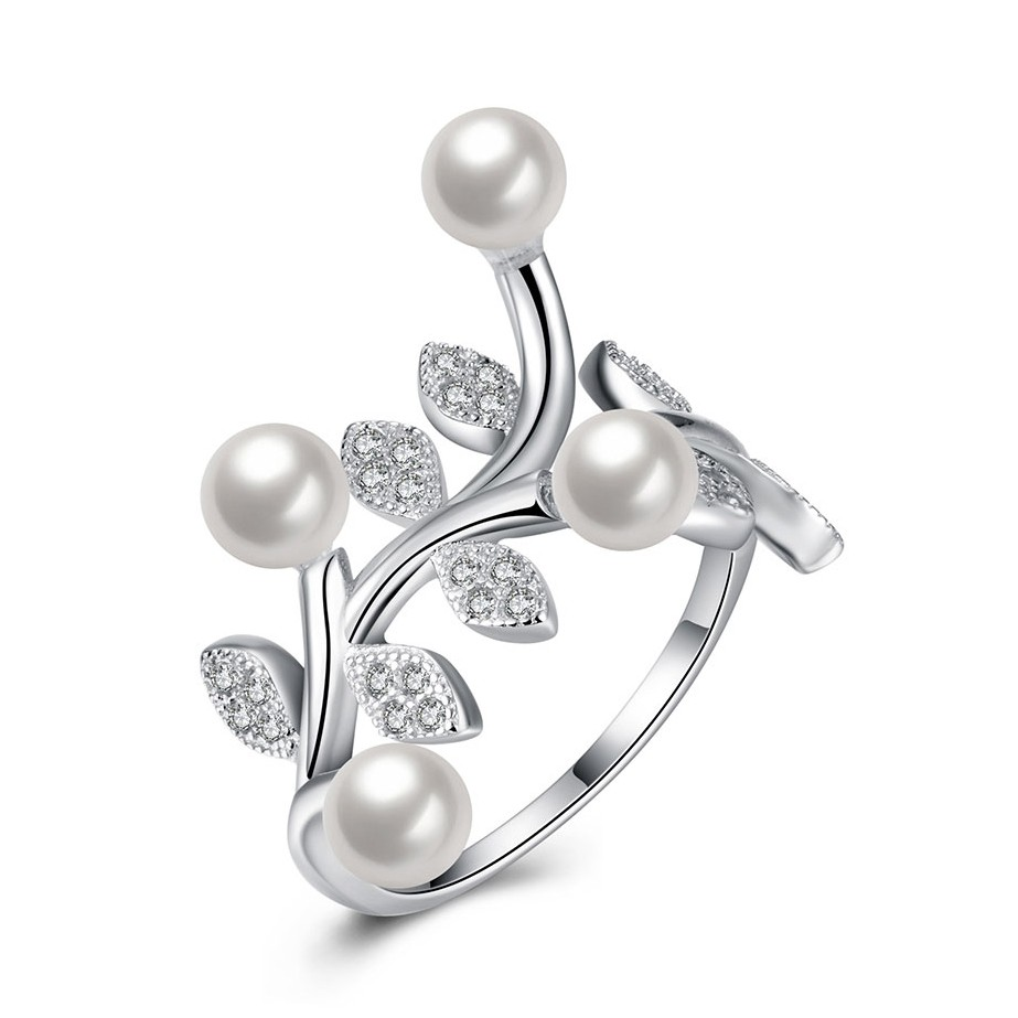 Round Cut White Sapphire Pearls S925 Silver Promise Rings