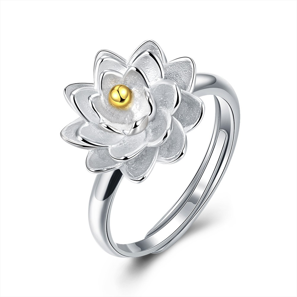 Lotus Gold Bead S925 Silver Promise Rings
