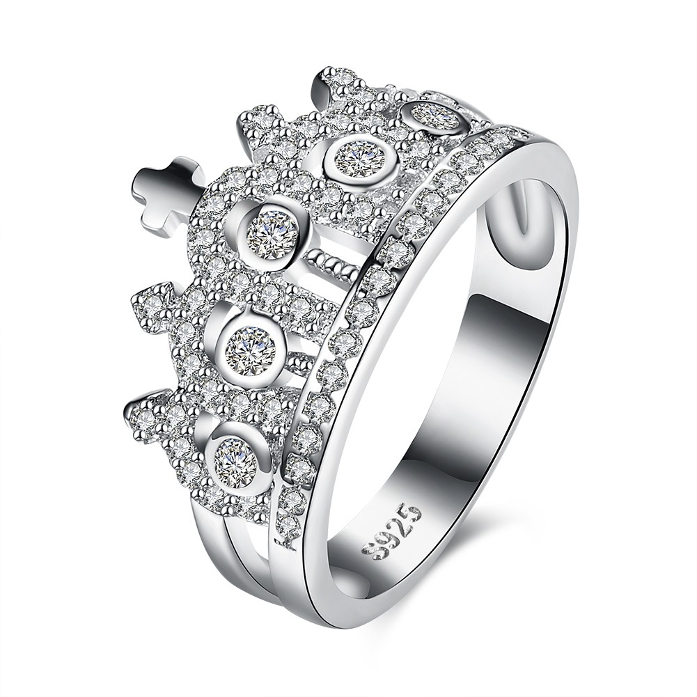 Crown Round Cut White Sapphire Crown S925 Silver Promise Rings