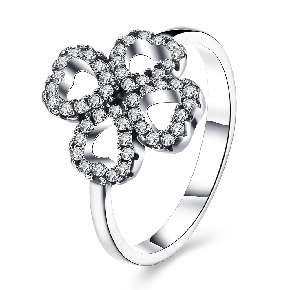 Hearts Round Cut White Sapphire S925 Silver Promise Rings