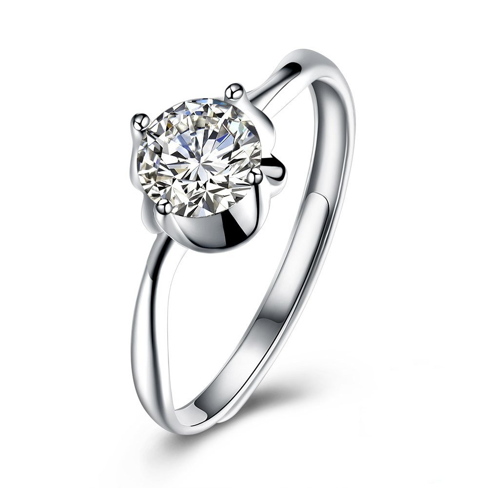 Round Cut White Sapphire Adjustable Size S925 Silver Engagement Rings