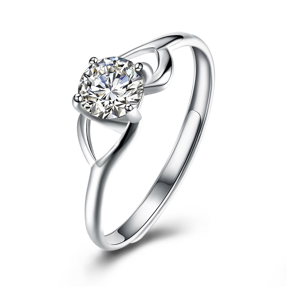 Round Cut White Sapphire S925 Silver Fine Engagement Rings