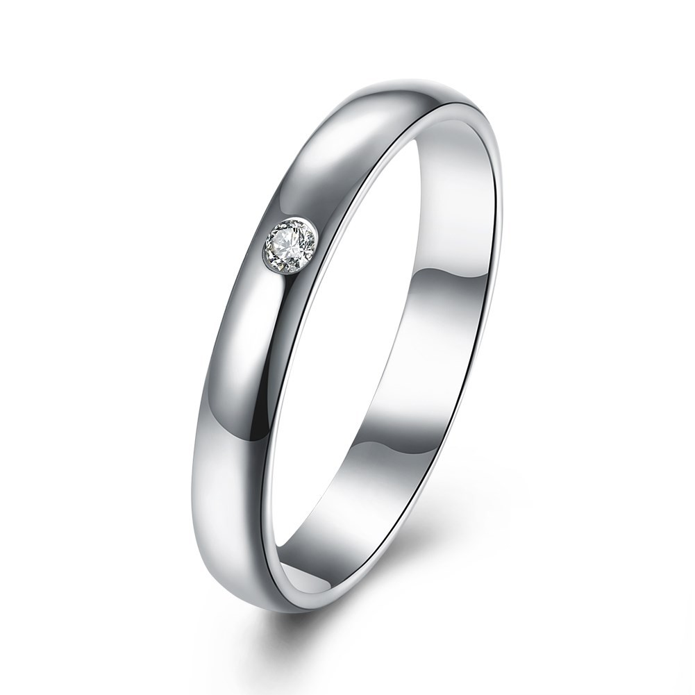 Round Cut White Sapphire S925 Silver Wedding Bands
