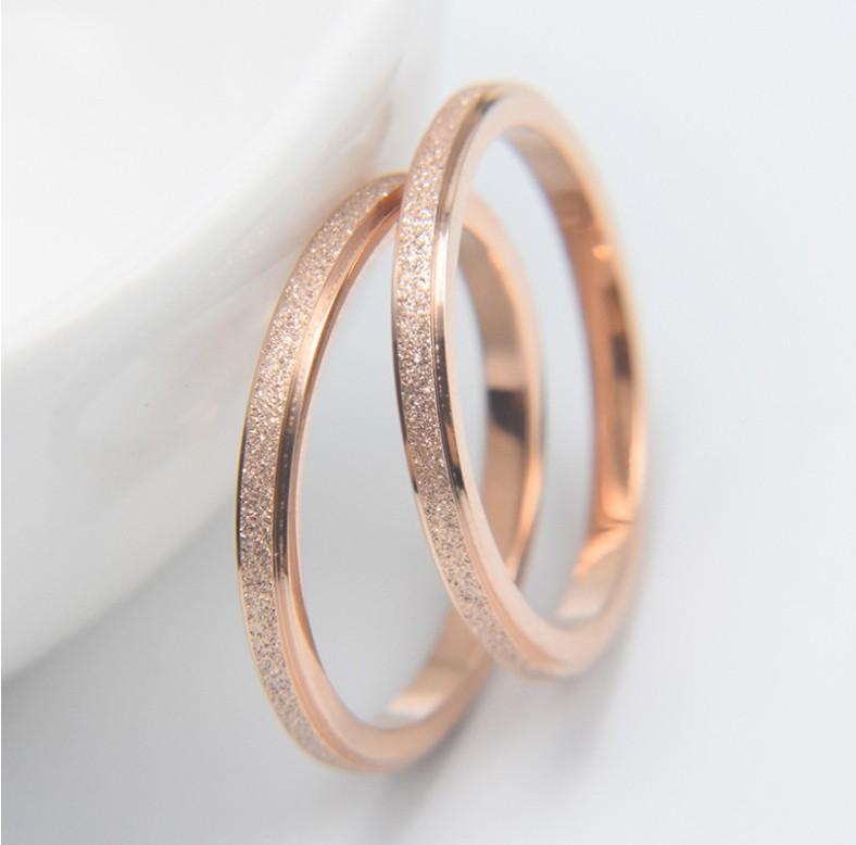 Titanium Steel Rose Gold Simple Couple Bands