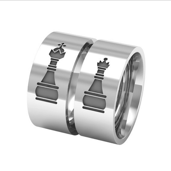 """His Queen Her King"" Titanium Steel Couple Rings"