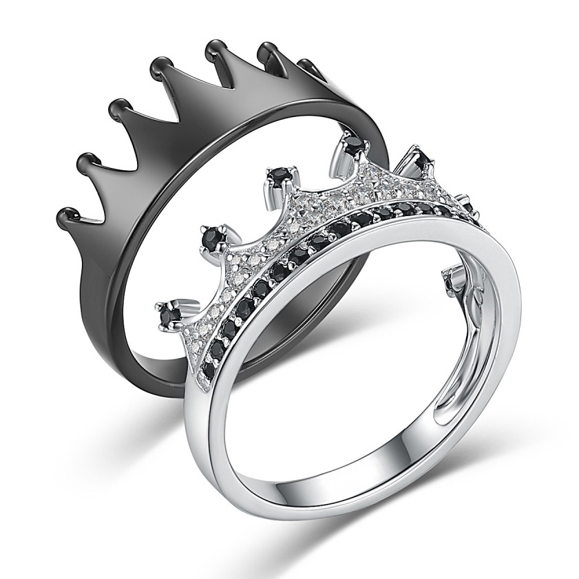 04172b6c3ac0f 'His Queen Her King' Crown Black and Silver 925 Sterling Silver Couple  Promise Rings