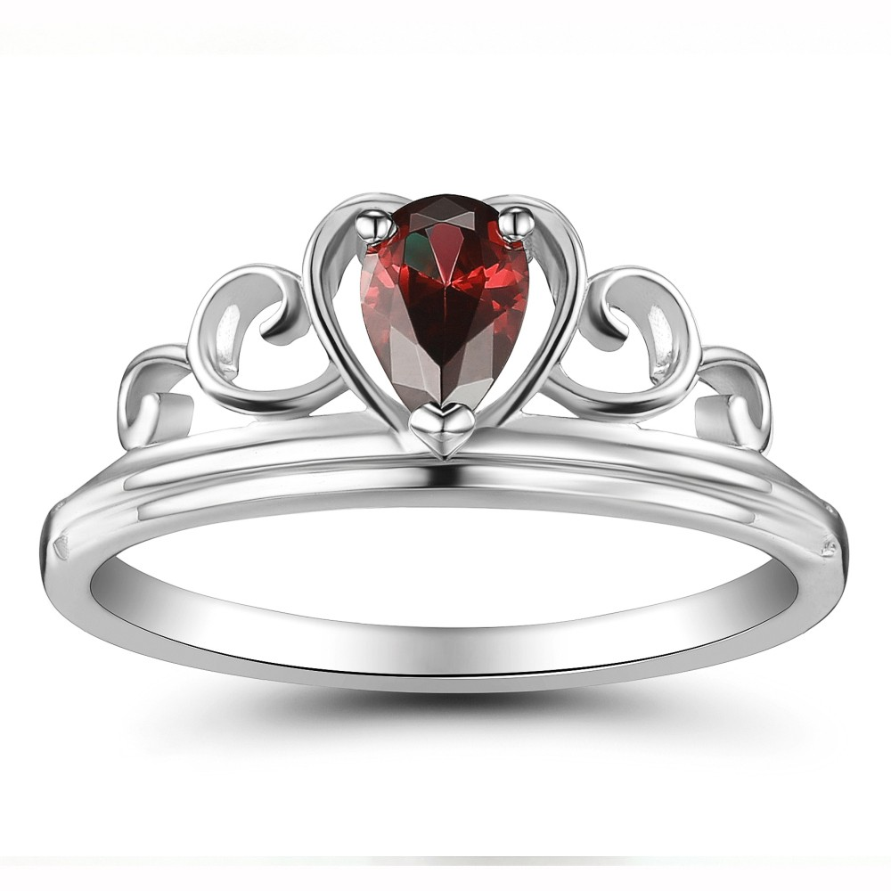 Crown Ruby Heart Style 925 Sterling Silver Women's Ring