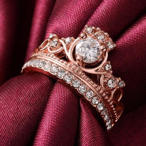 Crown Round Cut White Sapphire Women's Ring