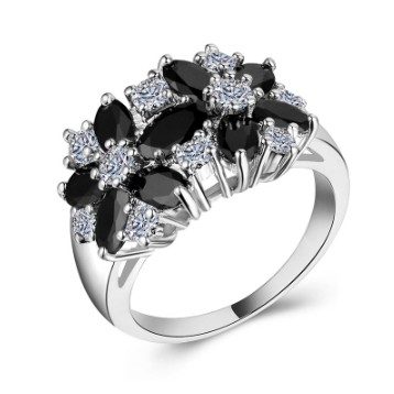 Black & White Sapphire Promise Rings For Her