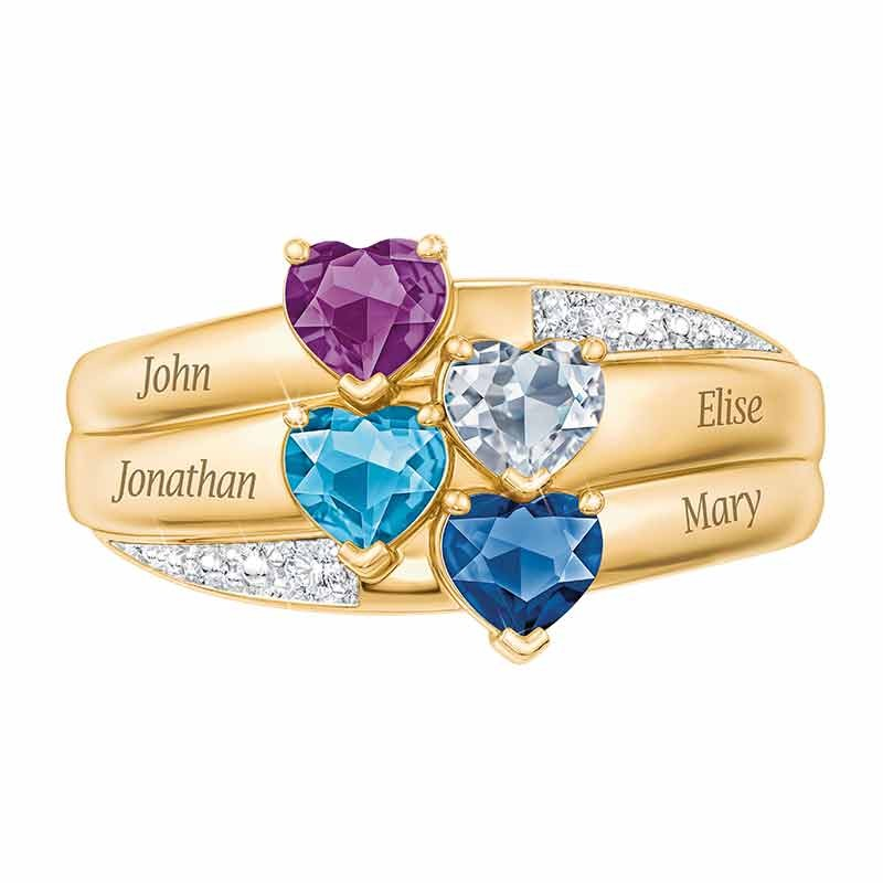 Birthstone Personalized Heart Cut 925 Sterling Silver 4-Stone Engraved Ring
