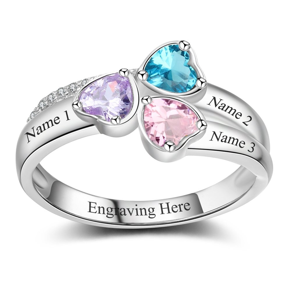 Heart Cut 3-Stone 925 Sterling Silver Personalized Engraved Birthstone Ring