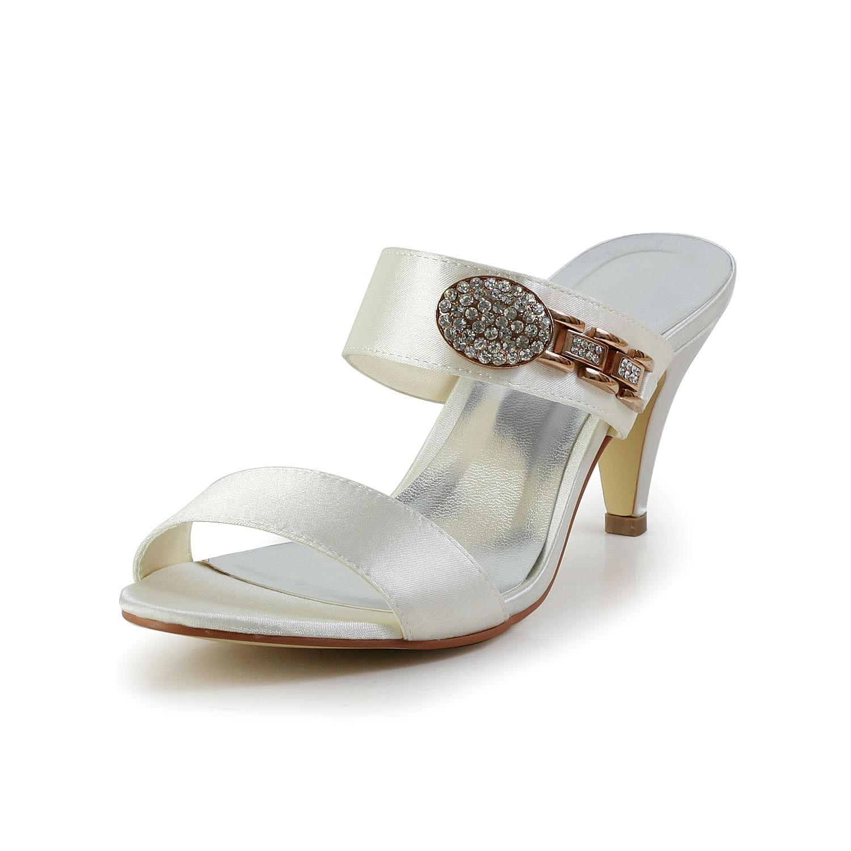 Women's Attractive Satin Peep Toe Cone Heel With Rhinestone Ivory Sandal Shoes