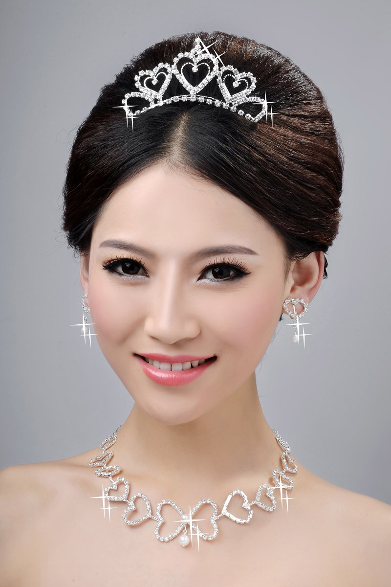 Awesome Alloy Clear Crystals Hearts Wedding Headpieces Necklaces Earrings Set