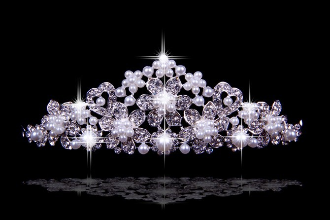 Bright Czech Rhinestones Flowers Pearls Wedding Headpieces