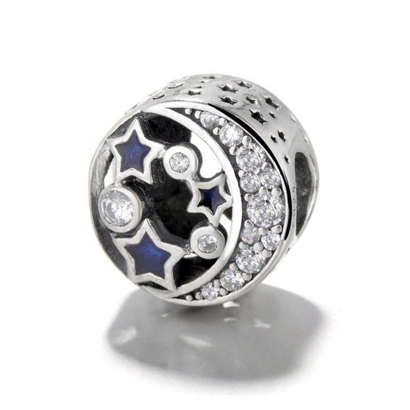 Moon & Blue Stars Charm Sterling Silver